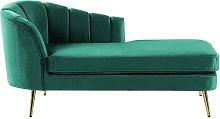 Beliani - Left Hand Velvet Chaise Lounge Emerald