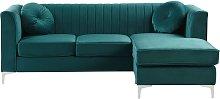 Beliani - Left Hand Velvet Corner Sofa Emerald