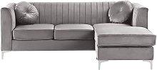 Beliani - Left Hand Velvet Corner Sofa Grey TIMRA