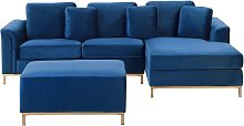 Beliani - Left Hand Velvet Corner Sofa with