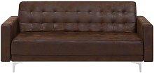 Beliani - Modern 3 Seater Sofa Bed Brown Faux