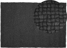 Beliani - Modern Area Rug Dark Grey Wool Felt Ball