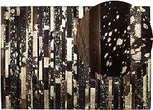 Beliani - Modern Cowhide Area Rug Dark Brown