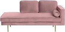Beliani - Modern Glam Velvet Chaise Lounge Pink
