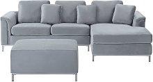 Beliani - Modern Light Grey Velvet Sectional Sofa
