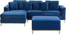 Beliani - Modern Navy Blue Velvet Sectional Sofa