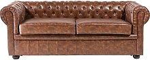 Beliani - Modern PU Leather Sofa 3 Seater Button