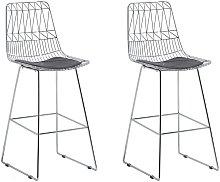 Beliani - Modern Set of 2 Metal Bar Chairs Counter