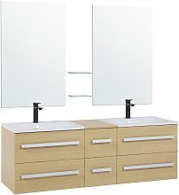 Beliani - Modern Vanity Set White Double Sink 2