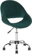 Beliani - Modern Velvet Desk Chair Green Fabric