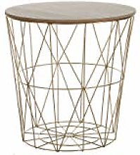 Beliani Modern Wire Basket Side Table Storage