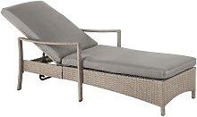 Beliani - Outdoor Patio Chaise Lounge Grey Wicker Taupe Cushion Padding Adjustable Backrest Vasto