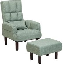 Beliani - Reclining Fabric Armchair and Ottoman
