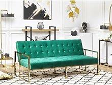 Beliani - Retro Style Sofa Bed Gold Metal Frame