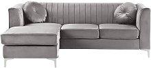 Beliani - Right Hand Velvet Corner Sofa Grey TIMRA