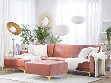 Beliani Right Hand Velvet Corner Sofa with Ottoman