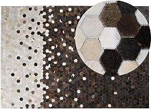 Beliani - Rustic Cowhide Leather Patchwork Area