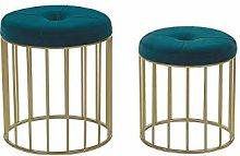 Beliani Set of 2 Glam Pouffes Velvet Upholstery