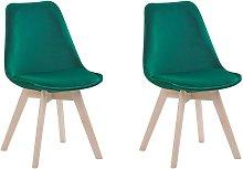 Beliani - Set of 2 Modern Dining Chairs Velvet