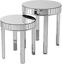 Beliani - Set of 2 Nesting Side Tables Mirrored