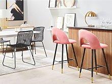 Beliani Set of 2 Velvet Bar Chairs Coral Red FALTON
