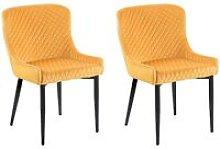 Beliani - Set of 2 Velvet Dining Chairs Yellow