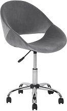 Beliani Velvet Armless Desk Chair Grey SELMA