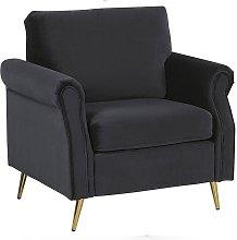 Beliani - Velvet Fabric Armchair Black Upholstery