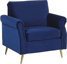 Beliani - Velvet Fabric Armchair Cobalt Blue