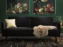 Beliani Velvet Fabric Sofa Bed Black Senja