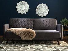 Beliani Velvet Fabric Sofa Bed Grey Senja