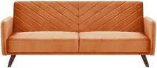 Beliani - Velvet Fabric Sofa Bed Orange SENJA