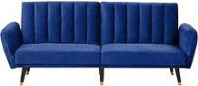 Beliani - Velvet Sofa Bed Navy Blue VIMMERBY