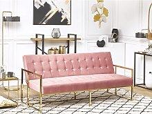 Beliani Velvet Sofa Bed Pink MARSTAL