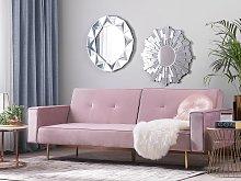 Beliani Velvet Sofa Bed Pink Visnes