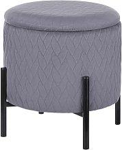 Beliani Velvet Storage Footstool Grey WENONA