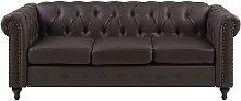 Beliani - Vintage Faux Leather 3 Seater Sofa Dark