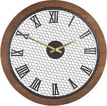 Beliani - Wall Clock Dark Wood Finish Round ø 54