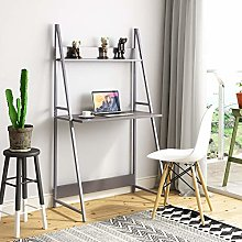 Beliwin 2-Tier Ladder Computer Desk, Shelf Unit