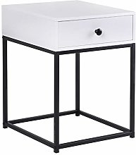 BELIWIN White Bedside Table Bedroom, Small Sofa