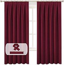 BellaHills Burgundy Blackout Curtain Panels for