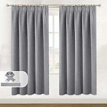 BellaHills Grey Blackout Curtains - Pencil Pleat
