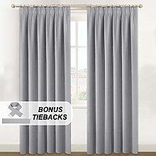 BellaHills Pencil Pleat Curtains Bonus Tie Backs
