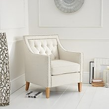 Bellard Fabric Sofa Chair In Ivory White With