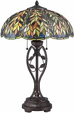 Belle lamp, imperial bronze and Tiffany glass