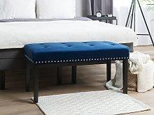 Bench Blue Velvet Upholstery Black Legs 51 x 102 x