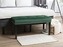 Bench Green Velvet Upholstery Black Legs 51 x 102