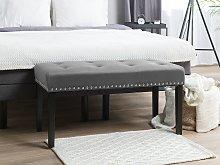 Bench Grey Velvet Upholstery Black Legs 51 x 102 x