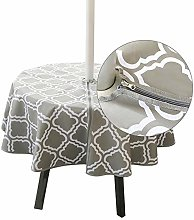 Benignpoet Round Waterproof Tablecloth With