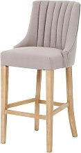 Benito High Back Bar Stool In Beige With Wooden